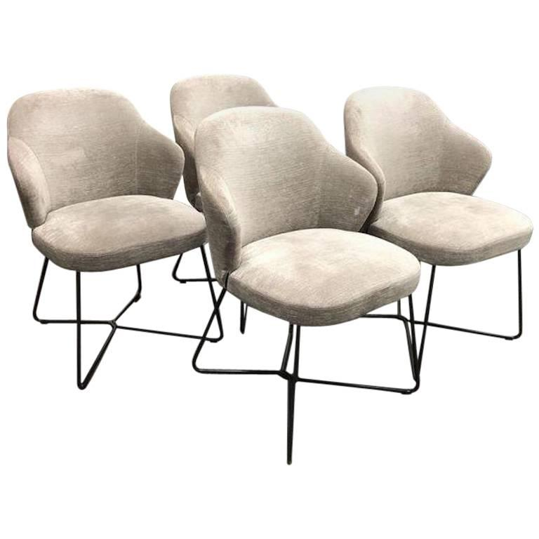 Minotti Set of Four Leslie Dining Chairs