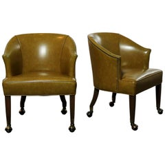 Pair of Midcentury Naugahyde Olive Green Rolling Barrel Chairs Nail Head Accent