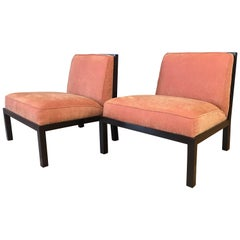 Pair of Michael Taylor for Baker Far East Collection Slipper Chairs