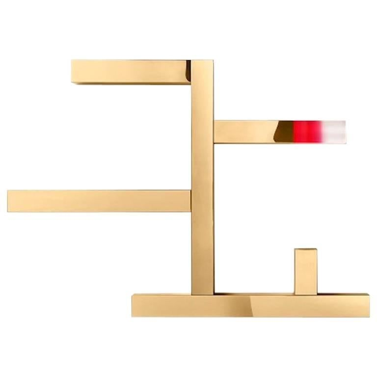 Ghidini 1961 Incrocio Shelves in Polished Gold Finish For Sale
