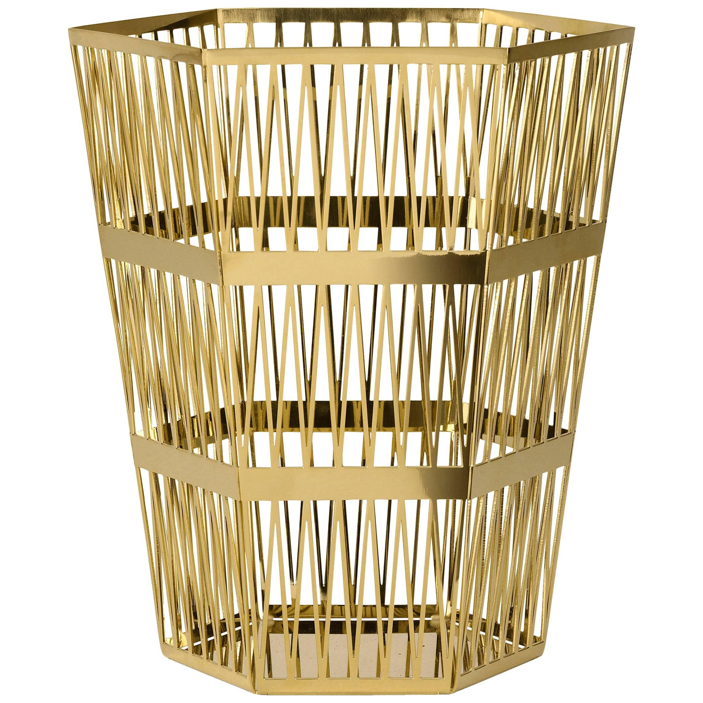 Ghidini 1961 Tip Top Small Paper Basket in Polished Gold Finish
