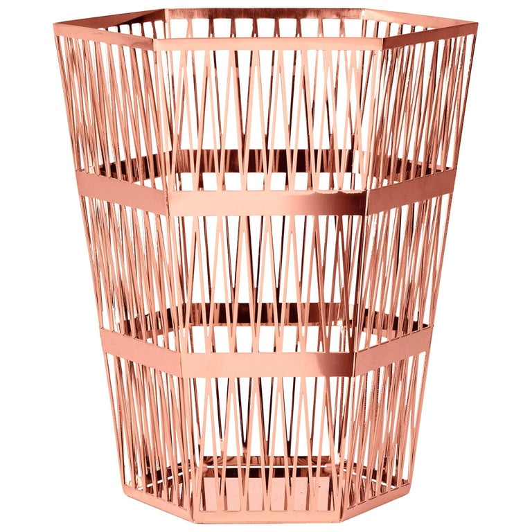 Ghidini 1961 Tip Top Small Paper Basket in Rose Gold Finish For Sale
