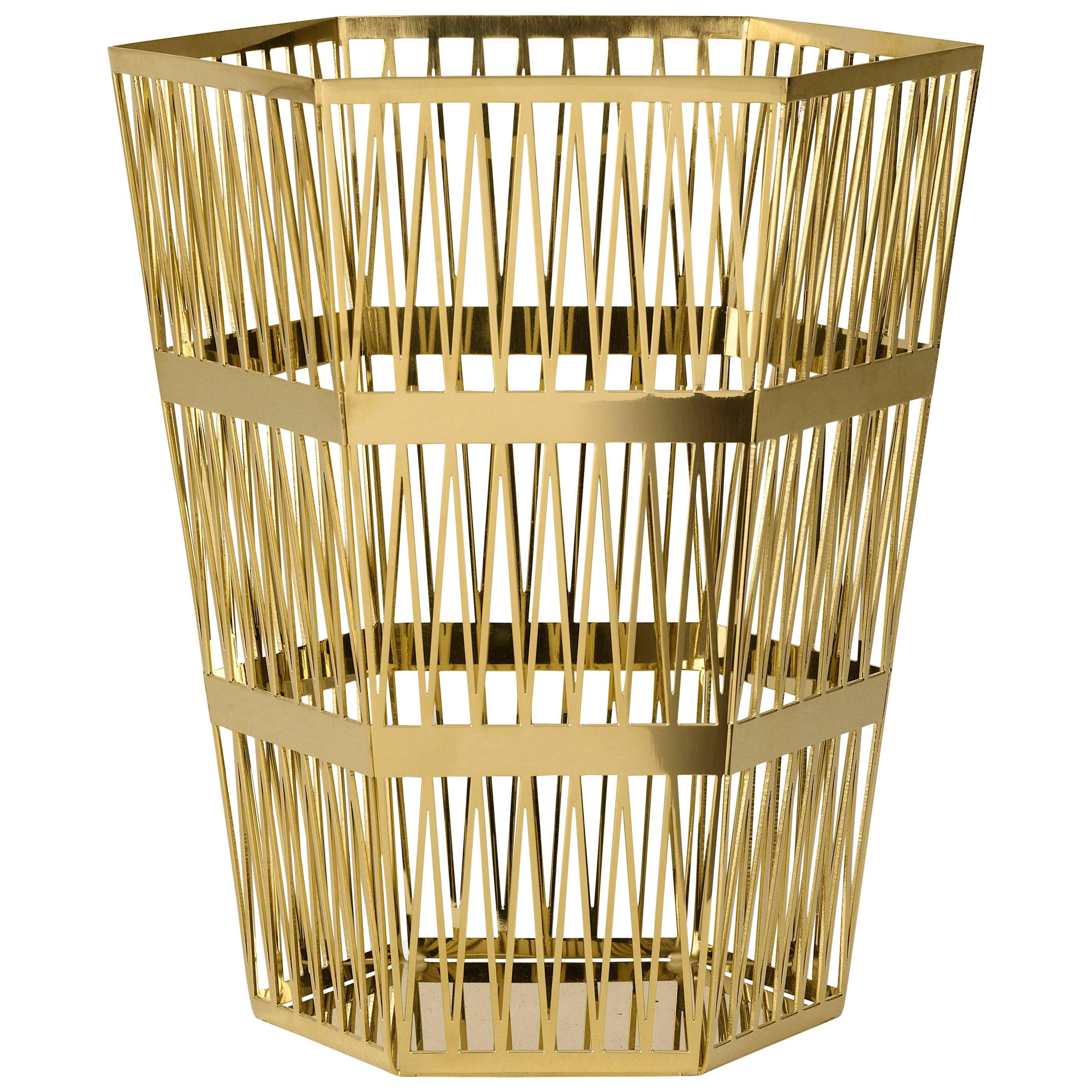 Ghidini 1961 Tip Top Large Paper Basket in Polished Gold Finish