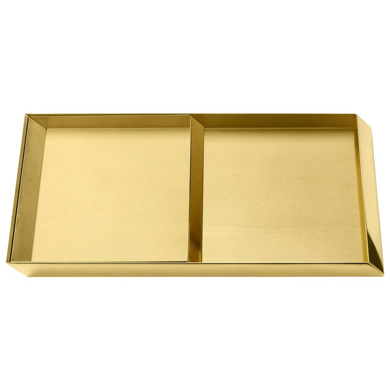 Ghidini 1961 Axonometry Trays Set in Polished Brass For Sale