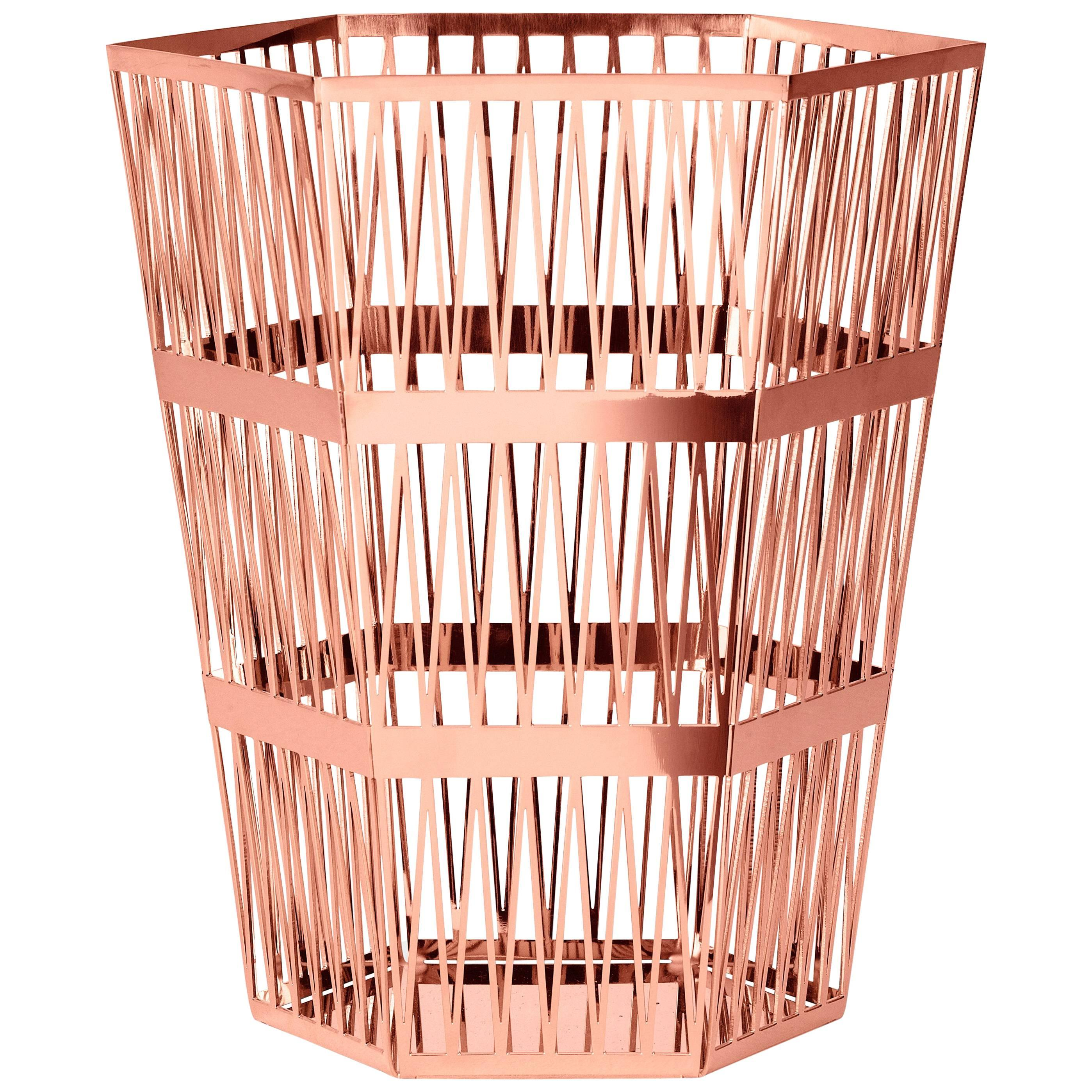 Ghidini 1961 Tip Top Large Paper Basket in Rose Gold Finish