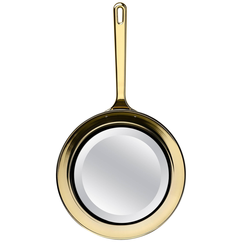 Ghidini 1961 Frying Pan Mirror in Polished Gold Finish