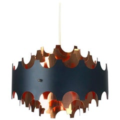 Werner Schou Copper Ceiling Light by Coronell, Denmark, 1960s