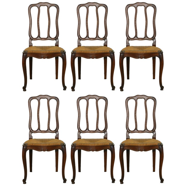 Six French Dining Chairs Oak Chairs Rush Seats, Early 20th Century
