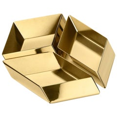 Ghidini 1961 Axonometry Set 1 Small Cube Tray in Polished Brass