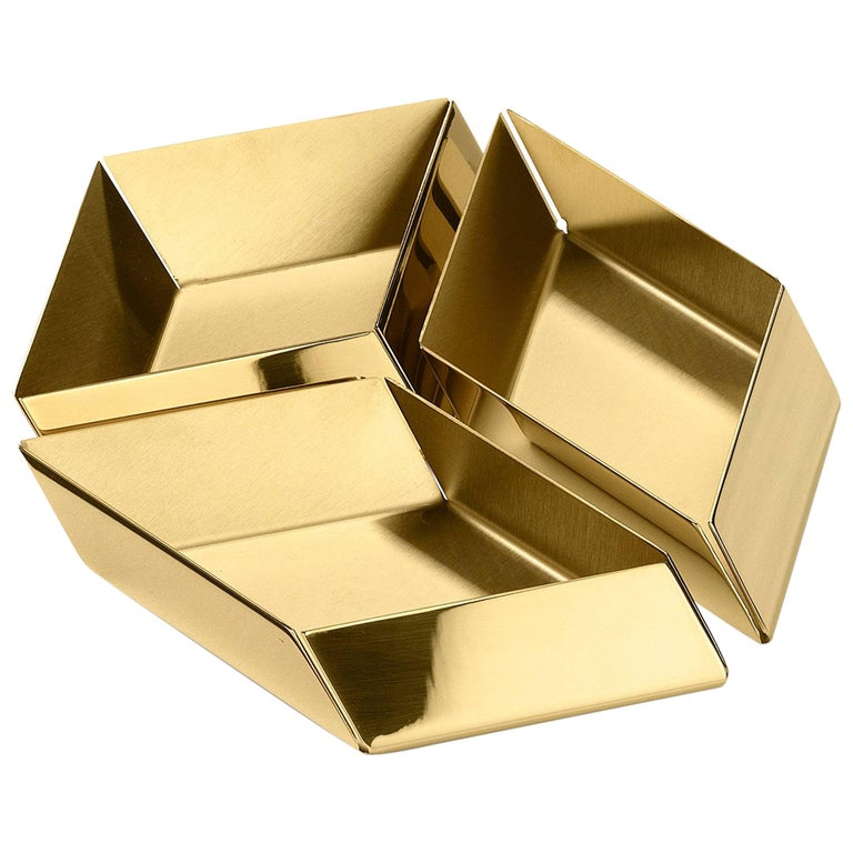 Ghidini 1961 Axonometry Set 1 Small Cube Tray in Polished Brass For Sale