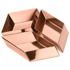 Ghidini 1961 Axonometry Set 1 Small Cube Tray in Rose Gold Finish