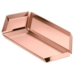 Ghidini 1961 Axonometry Set 4 Large Parallelepiped Tray Set in Rose Gold Finish