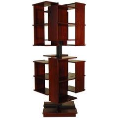 "Claudio Salocchi Rosewood Metal Italian ""Centro"" Rotating Bookshelf Sormani 1964"