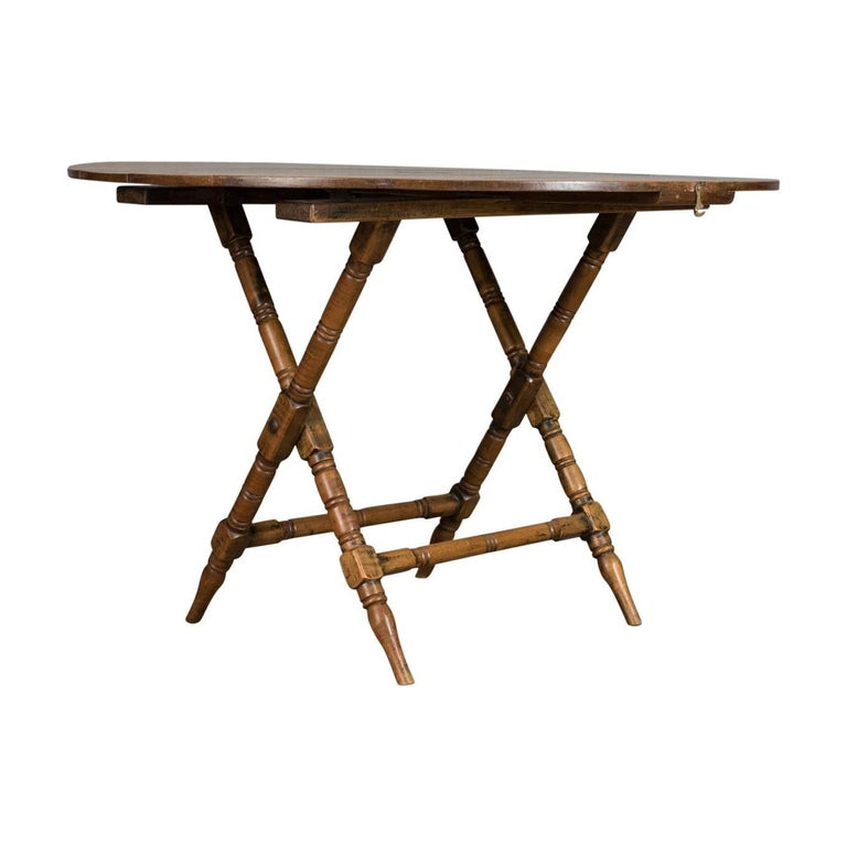 Antique Campaign Table English Victorian Folding, Beech, Fruitwood, circa  1890 For Sale - Antique Campaign Table English Victorian Folding, Beech, Fruitwood