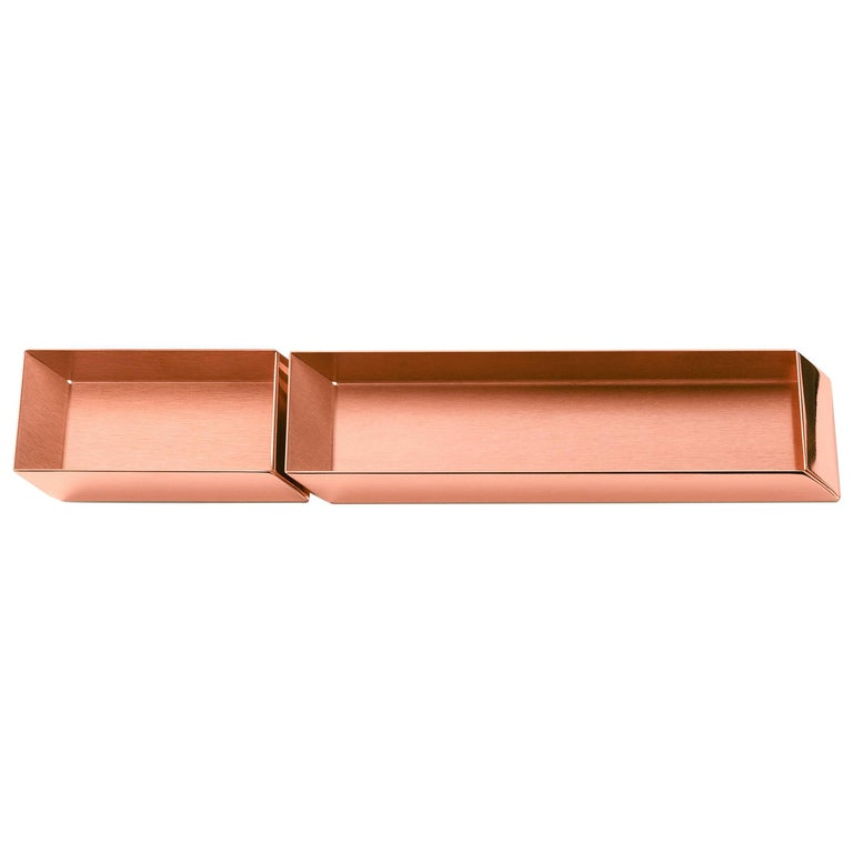 Ghidini 1961 Axonometry Pen and Cards Desk Trays Set in Rose Gold Finish