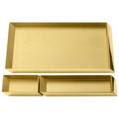 Ghidini 1961 Axonometry Desk Trays Set in Polished Brass