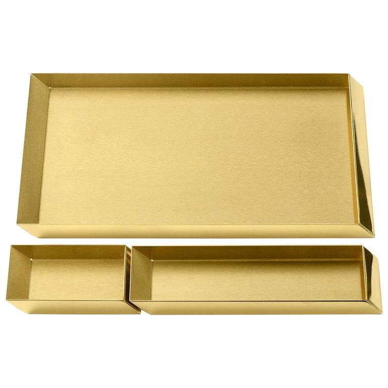 Ghidini 1961 Axonometry Desk Trays Set in Polished Brass