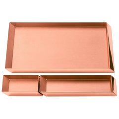 Ghidini 1961 Axonometry Desk Trays Set in Rose Gold Finish