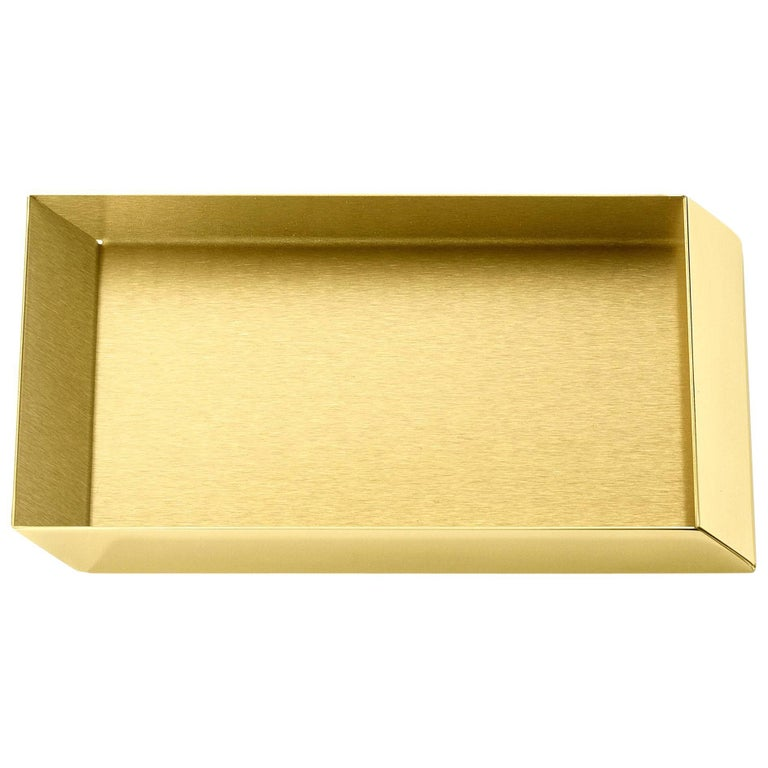 Ghidini 1961 Axonometry Rectangular Small Tray in Polished Brass For Sale