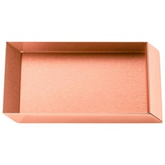 Ghidini 1961 Axonometry Rectangular Small Tray in Rose Gold Finish