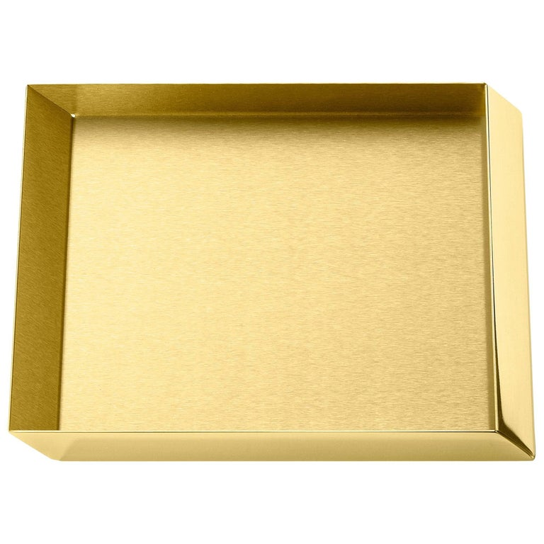 Ghidini 1961 Axonometry Squared Small Tray in Polished Brass