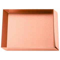 Ghidini 1961 Axonometry Squared Small Tray in Rose Gold Finish