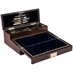 Figured Walnut Antique Writing Box by W.H.Took of Liverpool 19th Century