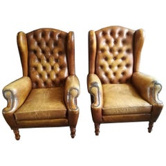 Pair of Vintage Tan Leather Wingback Armchairs