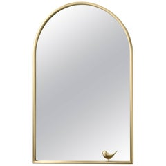 Ghidini 1961 Portrait Mirror with Birdie in Satin Brass Finish