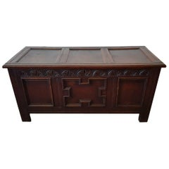 17th Century English Joined Oak Coffer or Blanket Chest
