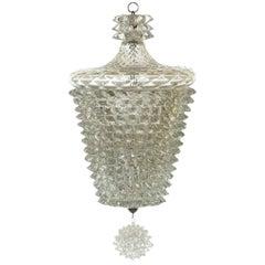 """1930s by Ercole Barovier Art Deco """"Rostrato"""" Murano Glass Ceiling Lamp"""