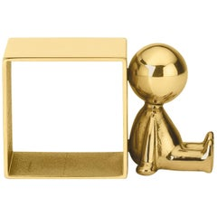 Ghidini 1961 Omini Napkin Holder Three in Polished Brass