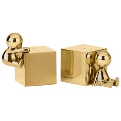 Ghidini 1961 Omini Salt and Pepper Shakers in Polished Brass