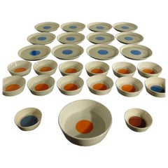 Gio Ponti Tableware Complete Set White Blue Orange Ceramica Italiana Pozzi, 1967