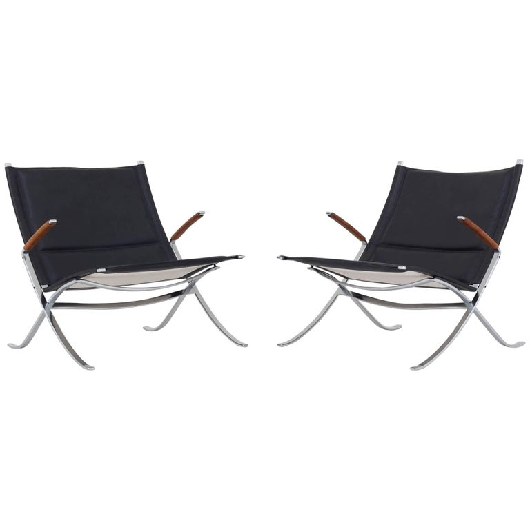 Pair of X Chairs by Preben Fabricius & Jørgen Kastholm