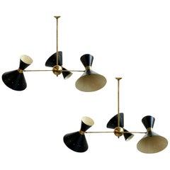 Pair of Large Italian Adjustable Brass Modernist Chandeliers in Stilnovo Style
