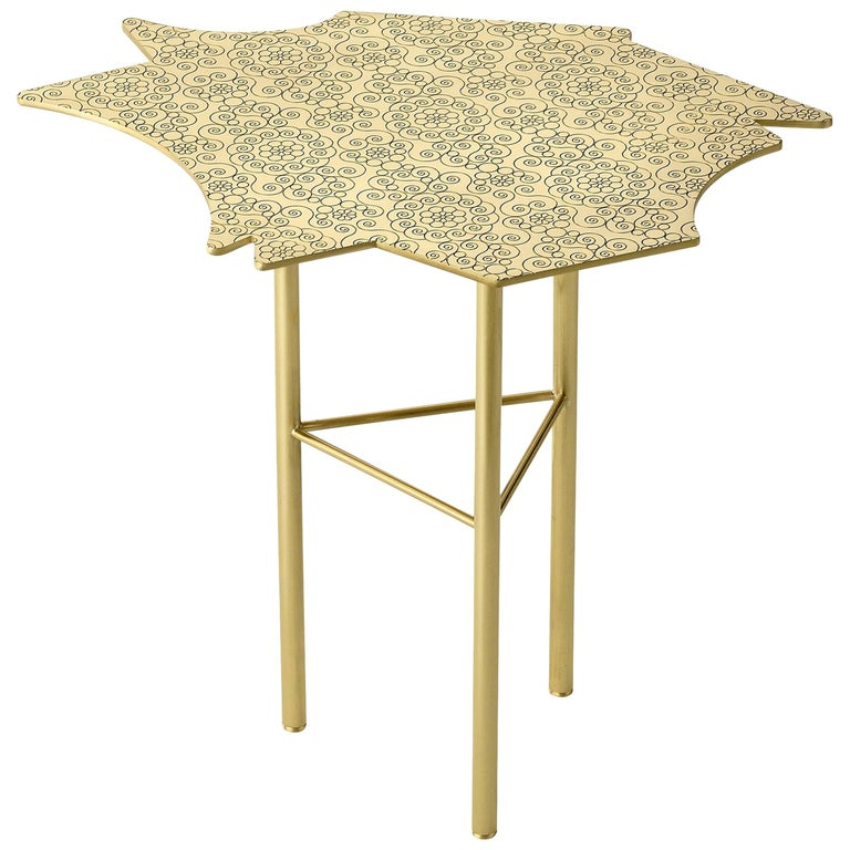 Ghidini 1961 Ninfee Left Coffee Table in Satin Brass Finish