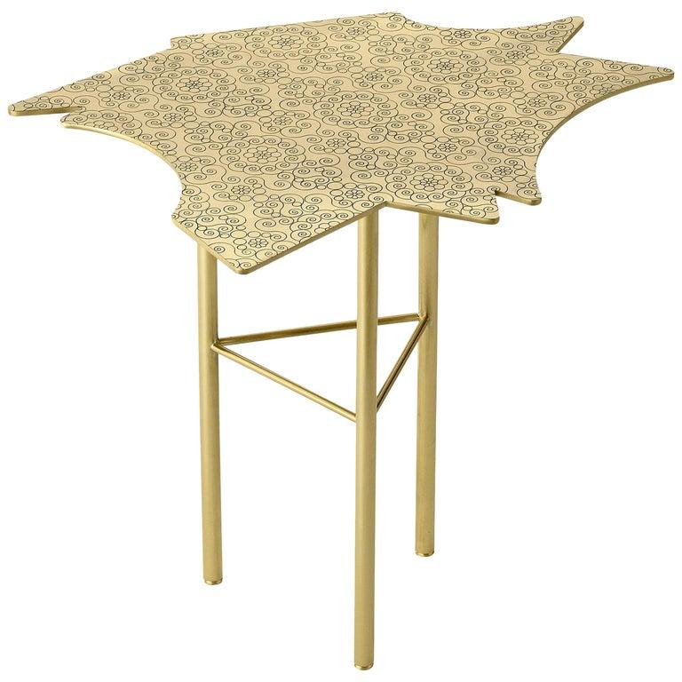 Ghidini 1961 Ninfee Middle Coffee Table in Satin Brass Finish