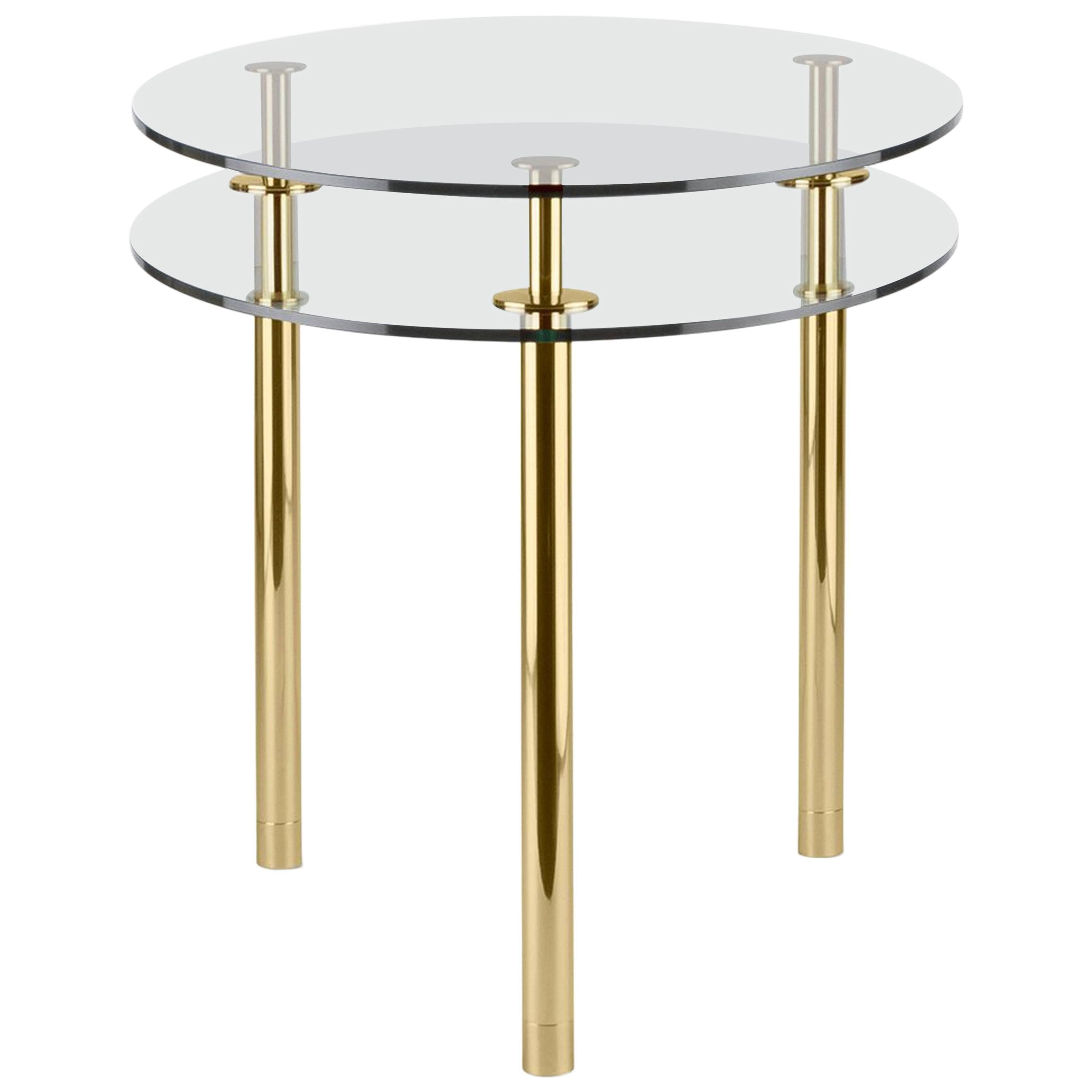 Ghidini 1961 Legs Small Round Table in Crystal and Polished Brass