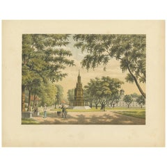 Antique Print of a Statue and Church in Batavia by M.T.H. Perelaer, 1888