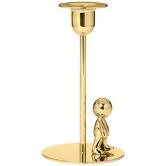 Ghidini 1961 Omini the Walkman Tall Candlestick in Polished Brass