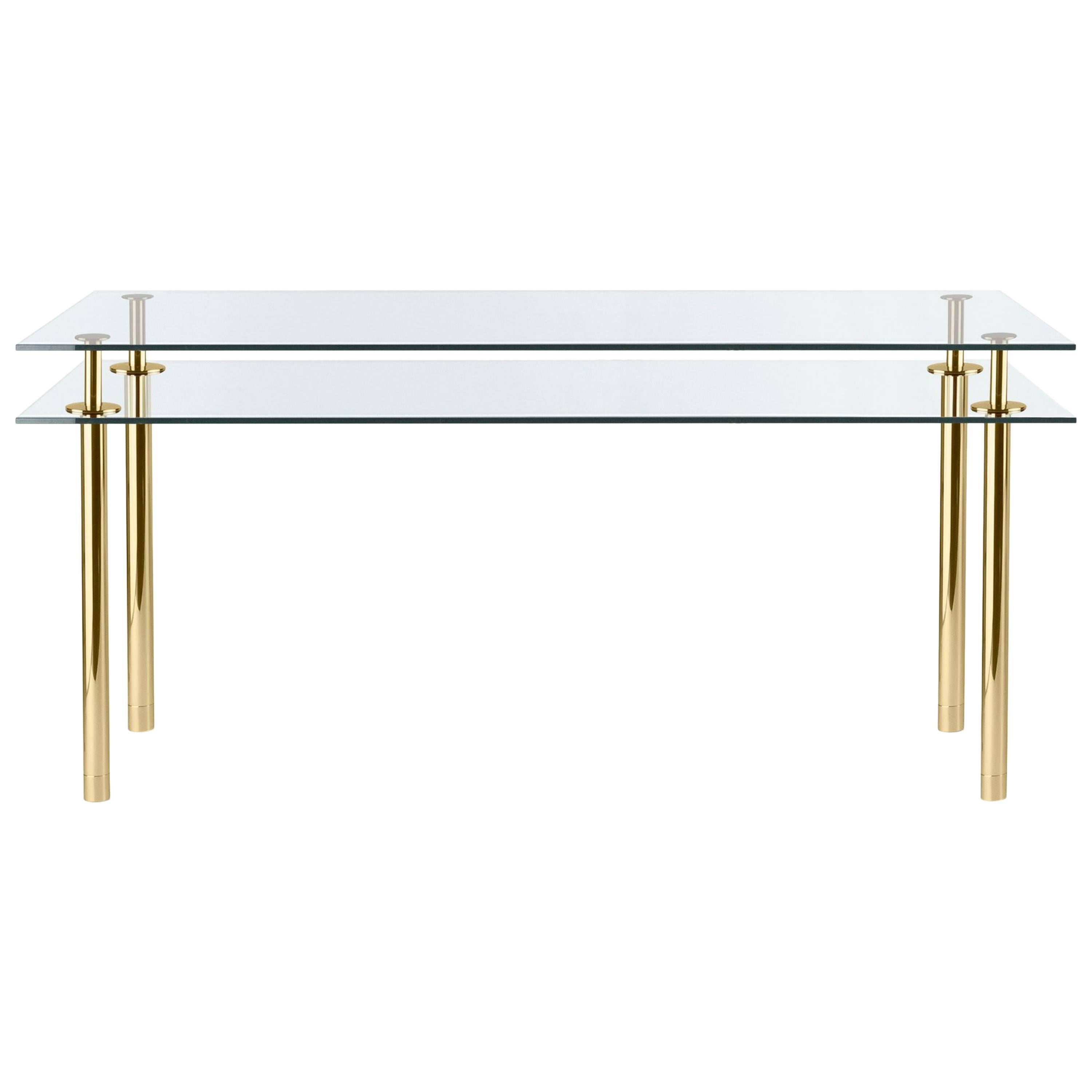 Ghidini 1961 Legs Medium Rectangular Table in Crystal and Polished Brass