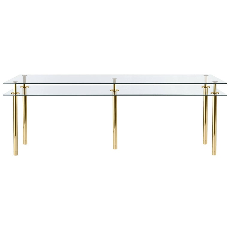 Ghidini 1961 Legs Large Rectangular Table in Crystal and Polished Brass For Sale