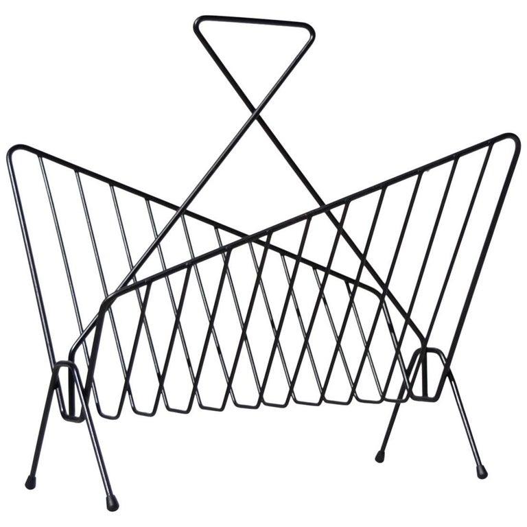 Modernist Geometric Shaped Magazine Rack, circa 1950s For Sale