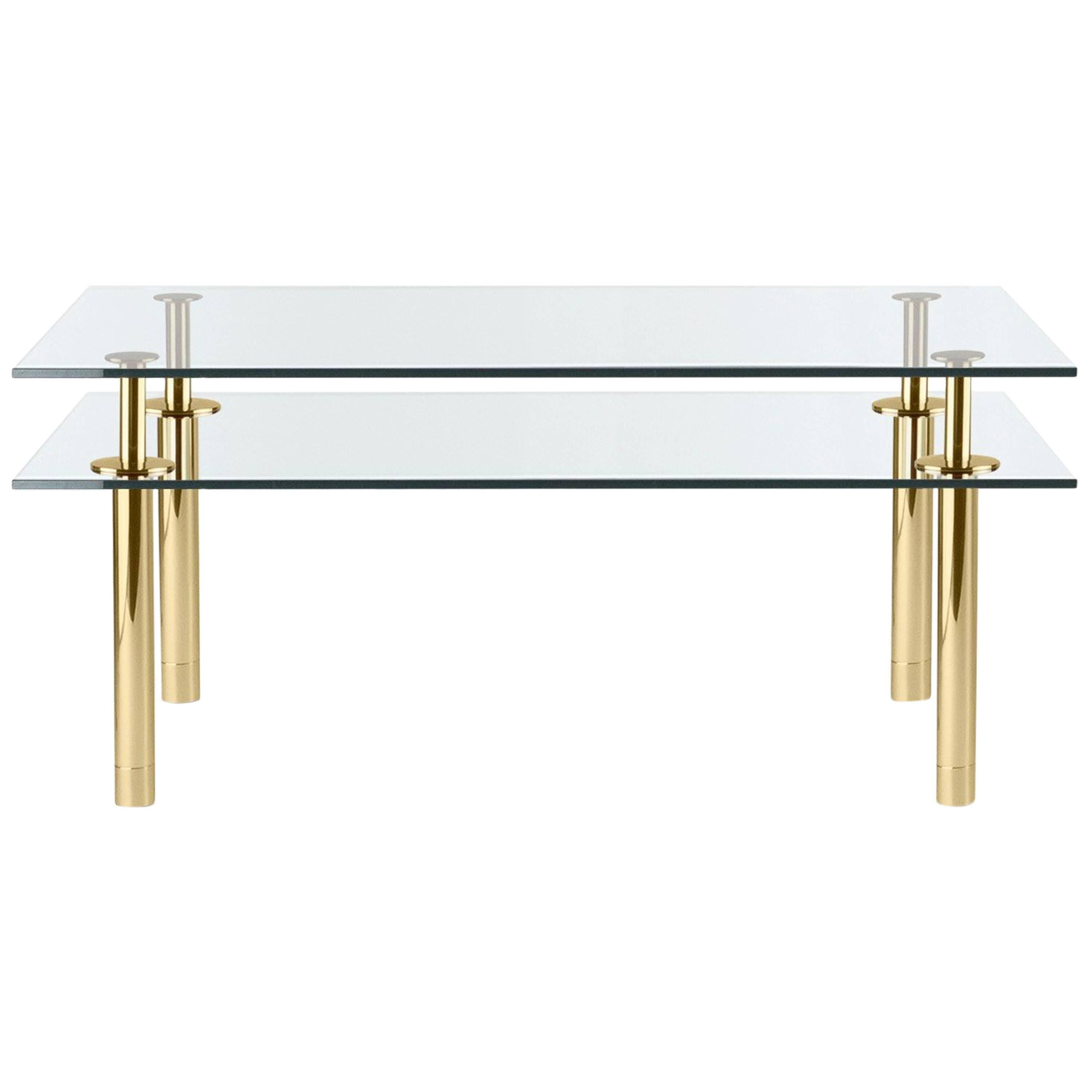 Ghidini 1961 Legs Small Rectangular Table in Crystal and Polished Brass