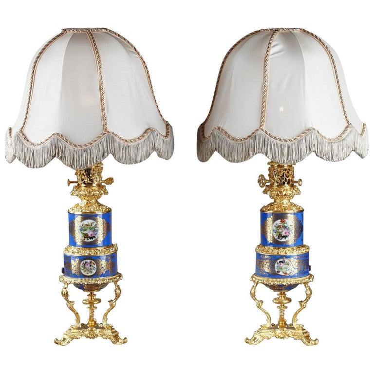 Old Paris Porcelain and Ormolu Antique Oil Lamps with Polychromatic Decoration