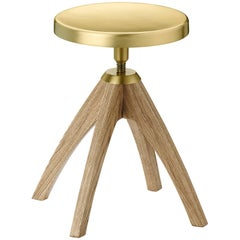 Ghidini 1961 Leporello Junior Stool in Pale Oak and Satin Brass Finish