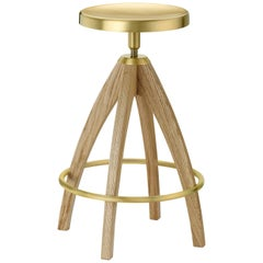Ghidini 1961 Leporello Senior Stool in Pale Oak and Satin Brass Finish