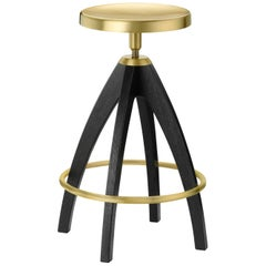 Ghidini 1961 Leporello Senior Stool in Dark Oak and Satin Brass Finish