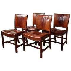 Set of Four Kaare Klint Red Chairs Mahogany and Original Patinated Niger Leather